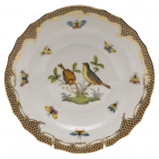 "Rothschild Bird Brown Border SALAD PLATE - MOTIF 07 7.5""D"