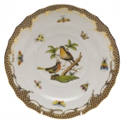 "Rothschild Bird Brown Border SALAD PLATE - MOTIF 08 7.5""D"