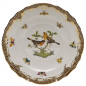 "Rothschild Bird Brown Border SALAD PLATE - MOTIF 09 7.5""D"