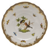 "Rothschild Bird Brown Border SALAD PLATE - MOTIF 10 7.5""D"