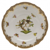 "Rothschild Bird Brown Border SALAD PLATE - MOTIF 11 7.5""D"