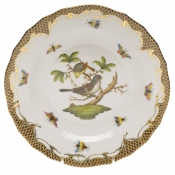 Rothschild Bird Brown Border DESSERT PLATE - MOTIF 01 8.25""