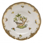 Rothschild Bird Brown Border DESSERT PLATE - MOTIF 02 8.25""