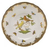 Rothschild Bird Brown Border DESSERT PLATE - MOTIF 06 8.25""