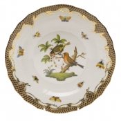 Rothschild Bird Brown Border DESSERT PLATE - MOTIF 10 8.25""