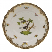 "Rothschild Bird Brown Border DINNER PLATE - MOTIF 01 10.5""D"