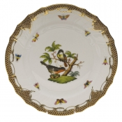 "Rothschild Bird Brown Border DINNER PLATE - MOTIF 02 10.5""D"