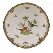 "Rothschild Bird Brown Border DINNER PLATE - MOTIF 05 10.5""D"