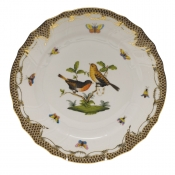 "Rothschild Bird Brown Border DINNER PLATE - MOTIF 09 10.5""D"