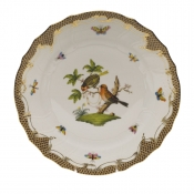 "Rothschild Bird Brown Border DINNER PLATE - MOTIF 10 10.5""D"