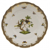 "Rothschild Bird Brown Border DINNER PLATE - MOTIF 11 10.5""D"