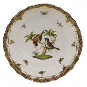 "Rothschild Bird Brown Border DINNER PLATE - MOTIF 12 10.5""D"
