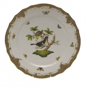 "Rothschild Bird Brown Border SERVICE PLATE - MOTIF 01 11""D"