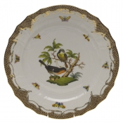 "Rothschild Bird Brown Border SERVICE PLATE - MOTIF 02 11""D"