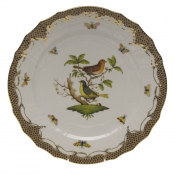 "Rothschild Bird Brown Border SERVICE PLATE - MOTIF 03 11""D"
