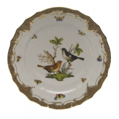 "Rothschild Bird Brown Border SERVICE PLATE - MOTIF 05 11""D"