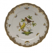 "Rothschild Bird Brown Border SERVICE PLATE - MOTIF 06 11""D"