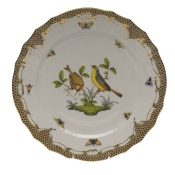 "Rothschild Bird Brown Border SERVICE PLATE - MOTIF 07 11""D"