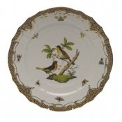 "Rothschild Bird Brown Border SERVICE PLATE - MOTIF 08 11""D"