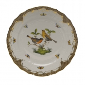 "Rothschild Bird Brown Border SERVICE PLATE - MOTIF 09 11""D"