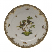 "Rothschild Bird Brown Border SERVICE PLATE - MOTIF 11 11""D"