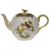 "Rothschild Bird Brown Border TEA POT W/BIRD (36 OZ) 5.5""H"