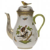 Rothschild Bird Brown Border COFFEE POT W/BIRD  (36 OZ) 8.5