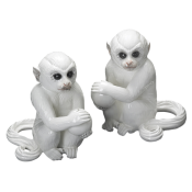 Mottahedeh Small White Monkey Bookend Pair