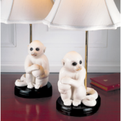 Mottahedeh Small White Monkey Lamps - Pair