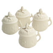 Mottahedeh Pot A Creme - Set of 4 / with Lids