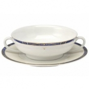 Scala Blue Gold Filet  Cream Soup Saucer