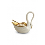 L'Objet White Swan Salt Cellar + Spoon