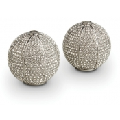 Pave Sphere Spice Jewels - Platinum + White Crystals
