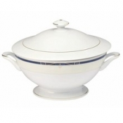 Scala Blue Gold Filet  Footed Soup Tureen With Lid