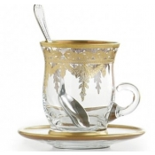 Arte Italica Vetro Gold After Dinner Cup & Saucer w/ Spoon