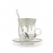 Vetro Silver Cup & Saucer with Spoon