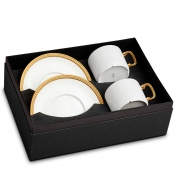 Soiree Tresse Gold Tea Cup + Saucer (Gift Box of 2)
