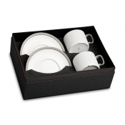 Soie Tressee  Platinum Tea Cup + Saucer (Gift Box of 2)