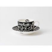 Steam Punk Black w/ White Charnwood Tea Cup