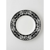 Steam Punk Black w/ White Dinner Plate
