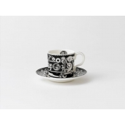 Steam Punk Black w/ White Coffee Saucer