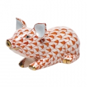 Herend Little Pig Lying - Rust