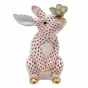 Herend Bunny w/ Butterfly Rust