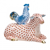 Sheep with Rooster Rust & Blue