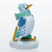 Herend Ice Skating Penguin Ice Skating Penguin - Blue