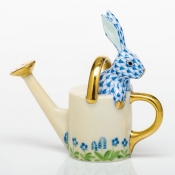 Herend Watering Can Bunny Blue
