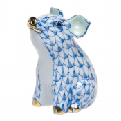 Herend Little Pig Sitting - Blue