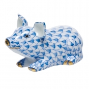 Herend Little Pig Lying - Blue