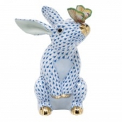 Herend Bunny w/ Butterfly Blue