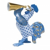 Herend Crowing Rooster Blue